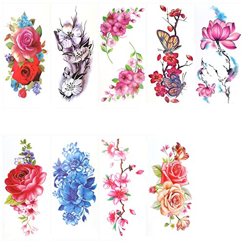Cherry Tattoo (ULTNICE Flower Temporary Tattoos Stickers Lotus Cherry Blossoms Flash Tattoo Pack of 9 Sheets)