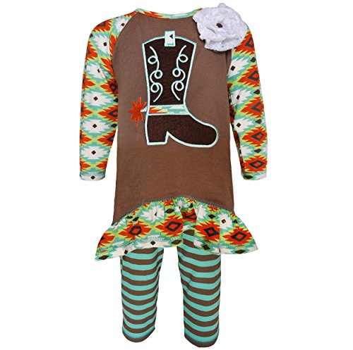 AnnLoren Baby Girls Boutique 12-18 mo Cowgirl Tunic and Legging Clothing (Baby Cowgirl Outfits)