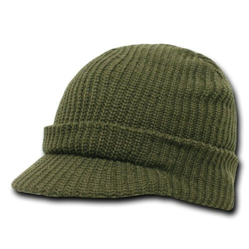 Decky Plain Gi Jeep Beanie Cap w/ Visor (Comes in Many Different Colors), Olive