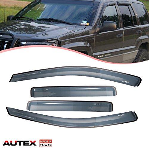 AUTEX 4 Pcs Tape On Window Visor Compatible with Jeep Compass 2011 2012 2013 2014 2015 2016 2017 Window Deflector Visor Sun Rain Shade Wind Guard, Made in Taiwan