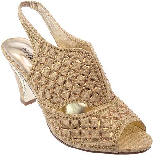 kinmi37 Womens Evening Sandal Rhinestone Gold Dress-Shoes Size 9