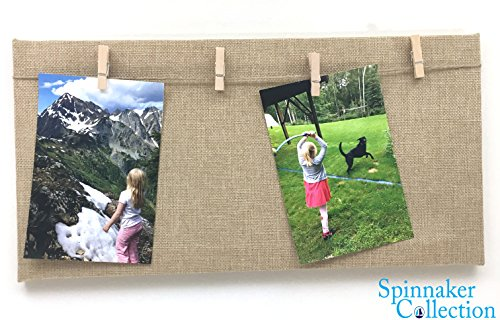 """8"""" x 15.5"""" COUNTRY BURLAP PHOTO BOARD WITH PHOTO HANGERS - Spinnaker Collection"""
