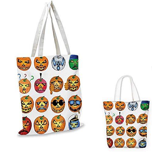 Halloween canvas messenger bag Carved Pumpkin with Emoji Faces Halloween Inspired Humor Hipster Monsters Artwork canvas beach bag Orange. 12