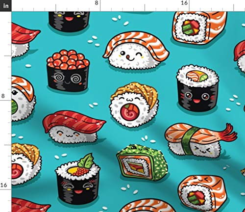 Spoonflower Sushi Fabric - Cute Kawaii Japanese Rice Roll Sashimi Food Seafood Fish Asia Print on Fabric by The Yard - Petal Signature Cotton for Sewing Quilting Apparel Crafts Decor