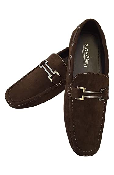 93474581b07 Men s Giovanni Loafer Dress Shoes Italian Style Slip On Suede Brown with  White Stitch M15-