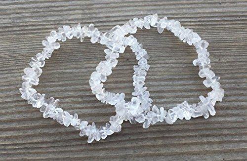 [A&S Crystals] CLEAR QUARTZ Natural Stone Gemstone Stretchy Chip Bracelet
