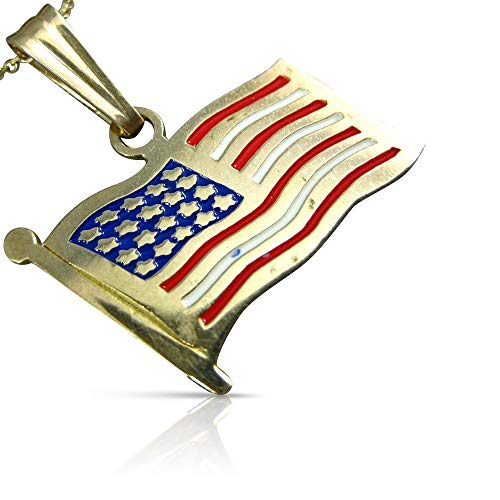 Milano Jewelers Large RED White & Blue Enamel 14K Yellow Gold American Flag Pendant 25303