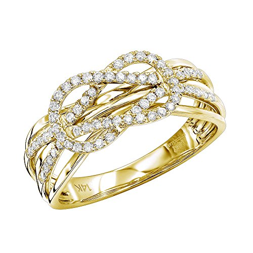 Diamond Love Knot Eternity Ring (Ladies 14K Gold Double Knot Love Diamond Ring 0.25ctw (Yellow Gold, Size 7))