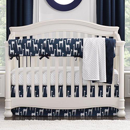 Navy Giraffe Bumperless Crib Bedding 3-piece Set [並行輸入品]   B07J6R519H
