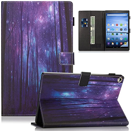 Fire HD 10 Case - Dteck Slim Fit Premium PU Leather Folio Stand Case with Auto Wake/Sleep Smart Cover for All-New Amazon Kindle Fire HD 10.1 Tablet (7th Generation, 2017 Release), Purple Forest