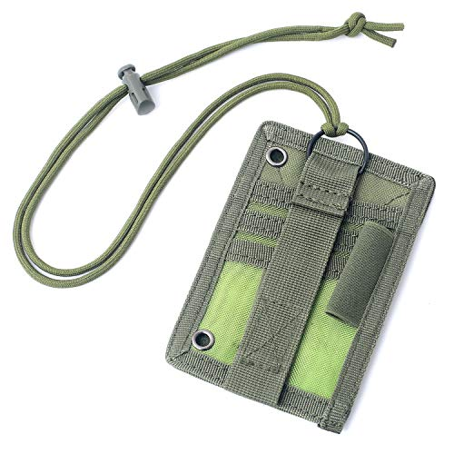 Tactical ID Card Holder Detachable Hook & Loop Patch Badge Holder Adjustable 1000D Cordura Neck Lanyard Key Ring and Credit Card Organizer (Army Green)