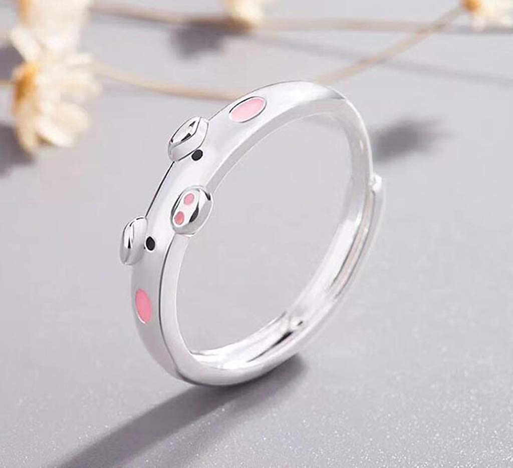 Titansten Red Pink Cute Pig Ring for Women Girls Jewelry Birthday Gift Size Adjustable