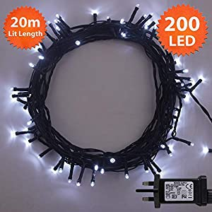 ANSIO Christmas Lights 200 LED 20 m White Indoor/Outdoor Christmas Tree Lights, Fairy Lights, String Lights Xmas/Bedroom/Party/Decorations 65 ft Lit Length 3 m Lead Wire – Mains Powered Green Cable