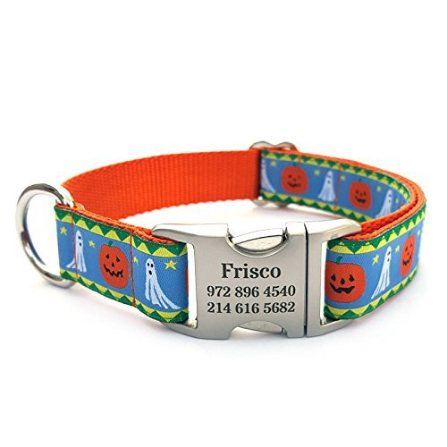 Halloween Jack-N-Ghost Dog Collar with Laser Engraved Personalized Buckle