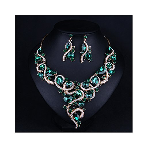Hot Color Set Necklace - Hamer Women's Multi-color Statement Choker Necklace and Earrings Sets Vintage Jewelry for Women (Green)