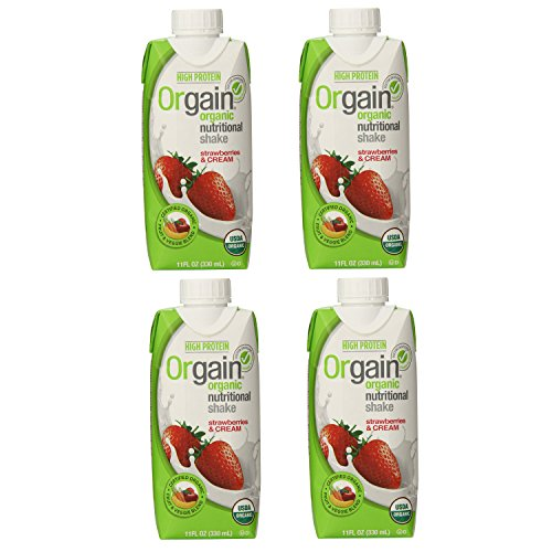 ORGAIN |Shake-Ready to Drink / Strawberry & Cream (Organic & Gluten Free) 11 Oz [4 Pack]