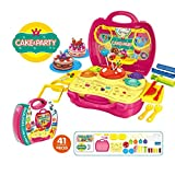 play dough for girls - Deardeer Kids Play Dough Cake Party Play Set 41 Pcs Pretend Play Toy Kit with Dough and Moulds in a Portable Case