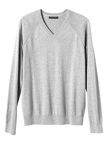 Banana Republic Mens Ribbed V Neck Long Sleeve Sweater Heather Light Grey Small