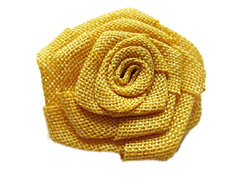 YYCRAFT 12pcs Burlap Roses Fabric Flowers Headbands Hair Accessory DIY Crafts/Wedding Party Decoration/Scrapbooking Embellishments(3'',Mustard Yellow) by YYCRAFT