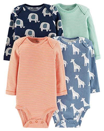 Carter's Baby Boys' 4-Pack Long-Sleeve Original Bodysuits (Ele/Giraffe/Stripes, 24 Months)