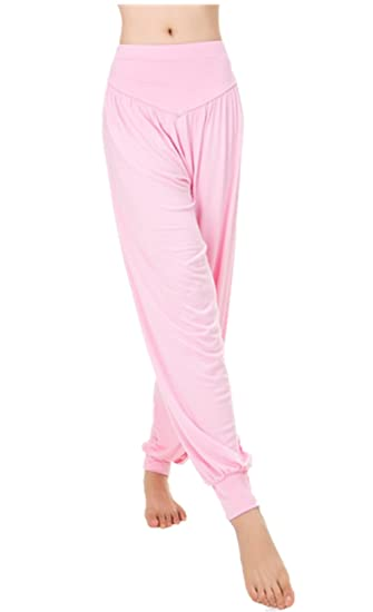 41154bed8a Lanmay Women's Elastic Soft Modal Cotton Yoga Sports Pants Dance Harem Pants  Medium Pink
