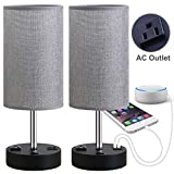 nice traditional bedroom dresser Focondot Table Lamp, Bedside Nightstand Lamps with Dual USB Charging Ports & an AC Outlet, USB Lamp Set of 2 with Gray Cylinder Shade, Stylish Desk Lamp for Bedroom Living Room Office (Grey)