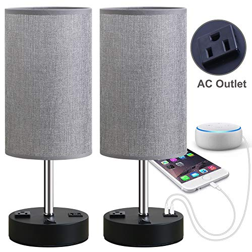 (Focondot Table Lamp, Bedside Nightstand Lamps with Dual USB Charging Ports & an AC Outlet, USB Lamp Set of 2 with Gray Cylinder Shade, Stylish Desk Lamp for Bedroom Living)