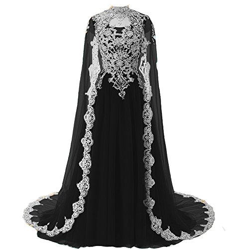 Plus Size White Lace Vintage Long Prom Evening Dress Wedding Gown with Cape Black US 16W