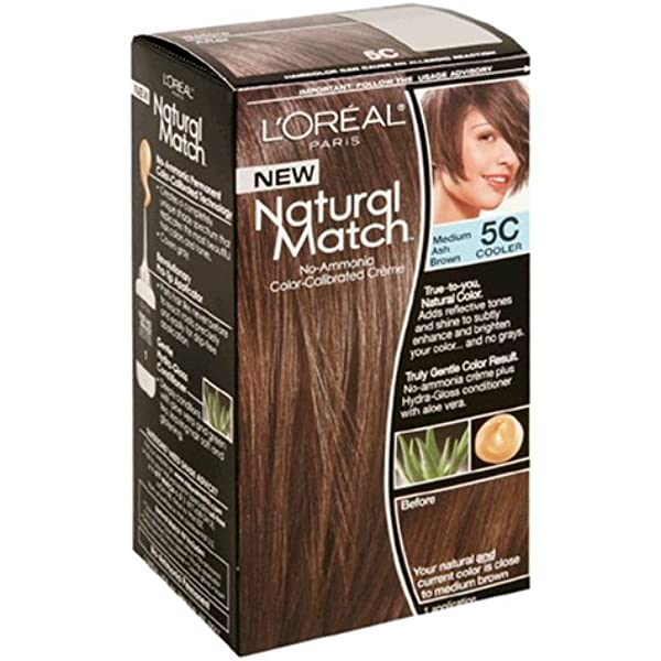 Amazon Com L Oreal Natural Match No Ammonia Color Calibrated Creme Medium Ash Brown 5c Cooler Chemical Hair Dyes Beauty