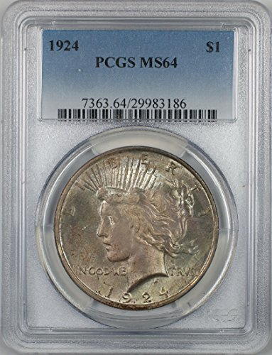 1924 Peace Silver Dollar Coin $1 PCGS MS-64 Toned (2D)