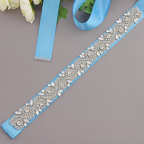 ULAPAN Dress S164 Diamonds Women's Sash Sash Rhinestones Blue Wedding Belt Bridal Belt qrBqvHc