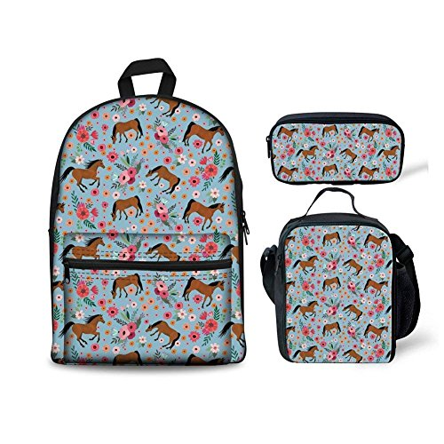 HUGS IDEA Floral Horses Backpack Set Cartoon School Bag with Lunchbox Pencil Case for Kids