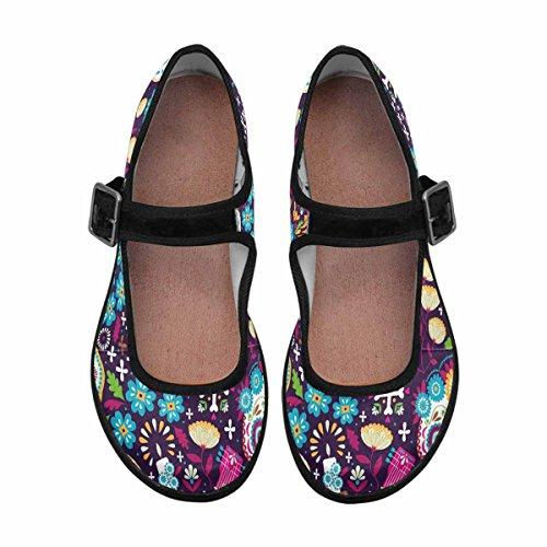 InterestPrint Womens Comfort Mary Jane Flats Casual Walking Shoes Multi 12 IGLzdHYO0d