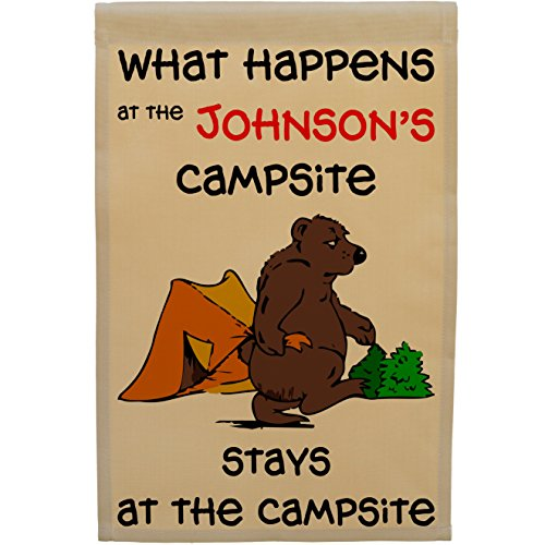 What Happens at The Campsite Stays at The Campsite, Personalized Bear Campsite Flag, Customize Your Way ()