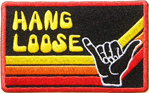 Hang Loose Shaka Hand Sign Patch Iron on Sew Embroidered Applique Logo Badge Sign Symbol Embelm T Shirt Jacket Vest Bag Baseball Cap Craft Gift]()