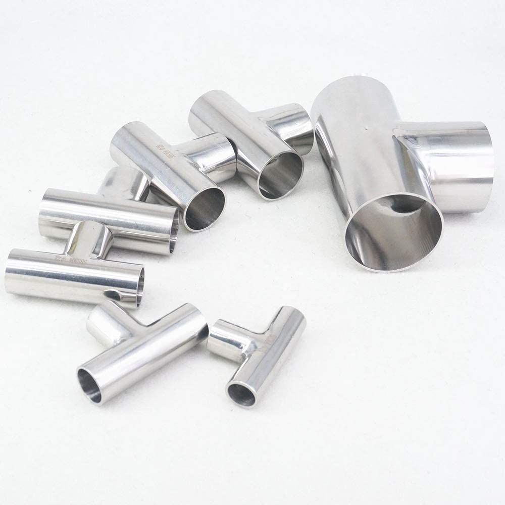 AIGUO Suitable For O/D Tube 16mm To 159mm, Stainless Steel Sanitary Tee Fittings, Hose Splitter, 1 Pcs (Color : 108x2mm) 28x1.5mm