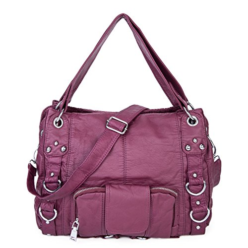 Soft Washed Crossbody Bag Front Zippers Shoulder Bag Hobo Purse Designer Handbags for Women (Purple)