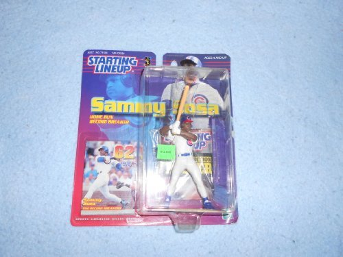Illinois Football Stadium - 1999 - Hasbro - Starting Lineup - Home Run Record Breaker - MLB - Sammy Sosa - Chicago Cubs - Baseball Sports Figure - w/ Exclusive Trading Card & Poster - Limited Edition - Collectible by Full 90