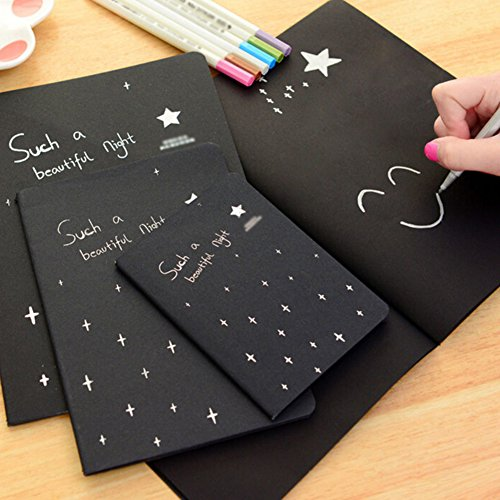 Doodle Art Papers Cards Pad Sketchbook Graffiti Book Diary Sketch Drawing Black Notebook Stationary Gift Blank Drawing Book for Kids and Adults size S by Baost (Image #3)