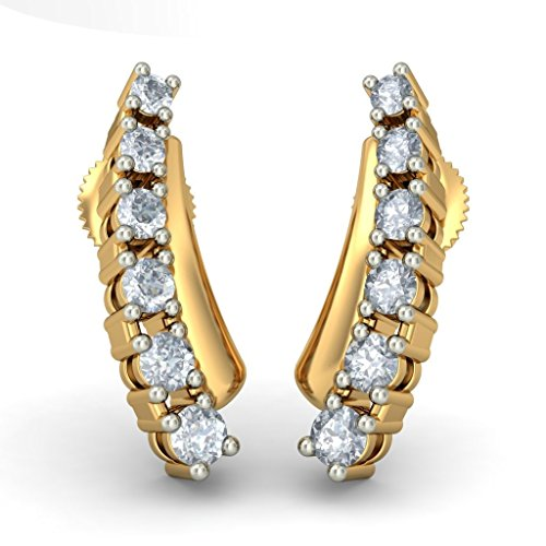 14K Or jaune 0,31CT TW White-diamond (IJ | SI) Boucles d'oreille à tige