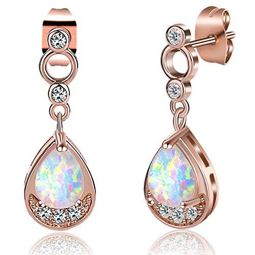 18K Gold Plated Teardrop Opal Earrings for Women Girls Cubic Zirconia Stud Earrings