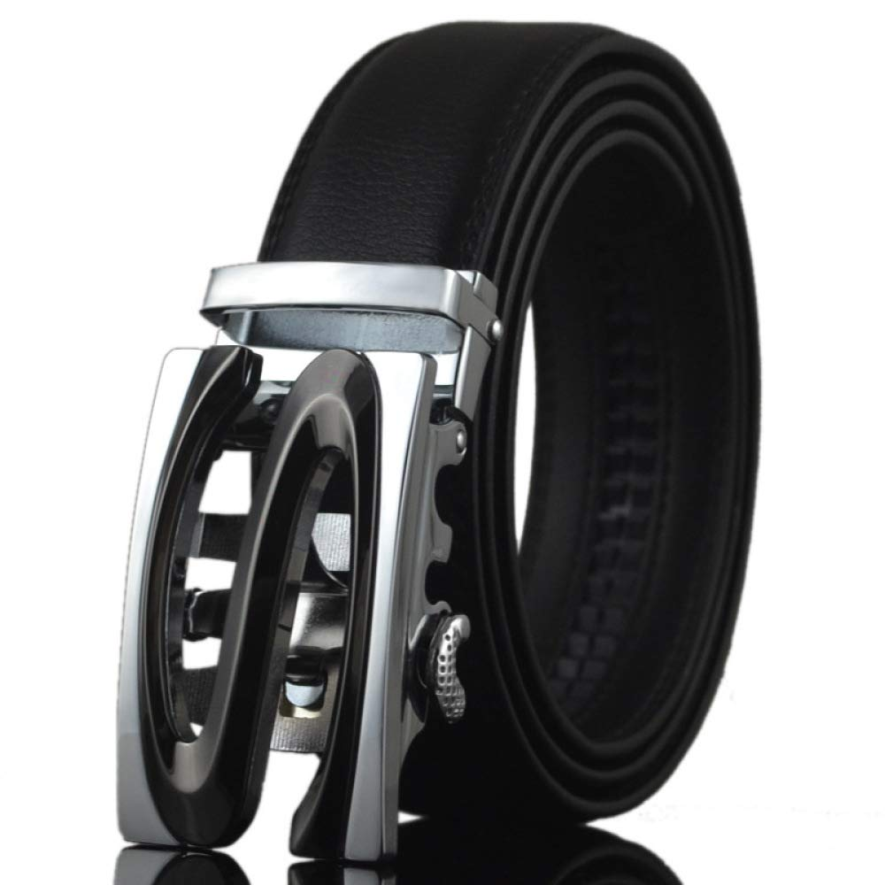 DENGDAI Mens Automatic Buckle Belt Leather Belt Man Belt Length 110-130cm