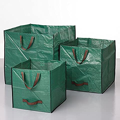 3-Pack Reusable Gardening Bags, Garden Yard Lawn Leaf Waste Bags, Multi-Use Large Storage Containers, Collapsible 62 Gallon, 28 Gallon, 14 Gallon Set