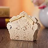 DiscountOne Gold White Laser Cut Favor Candy Box With Ribbons Bridal Shower Wedding Party Favors (50)