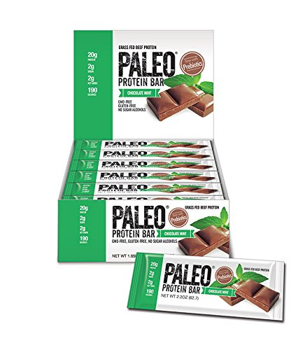 Paleo Protein Bar® (Chocolate Mint) 12 Bars (20g Grass-Fed Beef) (2 Net Carbs) w/Organic Prebiotics)