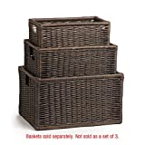 The Basket Lady Wicker Kitchen Cabinet Basket, Large, Antique Walnut Brown For Sale