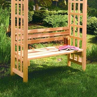 Arboria Arbor Garden Seat Cedar Wood 42 Inches Wide With (Cedar Arbor Bench)