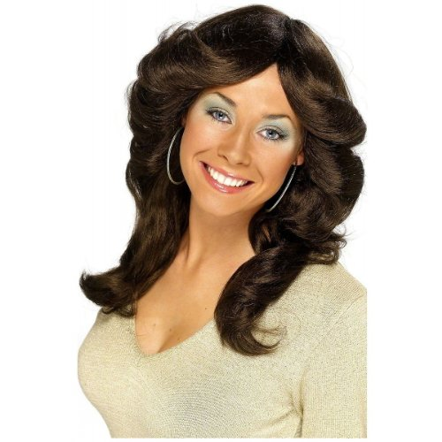 Charlies Angels Halloween Costume (70s Flick Feathered Brown Wig)