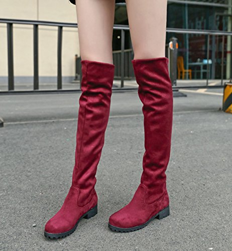 BIGTREE Knee Boots Faux Red Comfortable Women Warm Winter Casual Boots Suede Autumn Flat Long High Fur RRaB671r