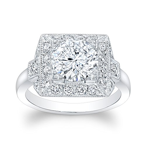 Ladies 14kt white gold antique vintage engagement ring 0.33 ctw G-VS2 diamonds with 2ct (8mm) Round Brilliant White Sapphire Center ()